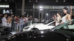 Shot of Shot of People at auto show / Xi'an, shaanxi, China Stock Footage