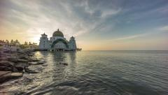 Time lapse. Sunrise at Floating Mosque, Straits of Malacca. - stock footage