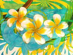 Grunge plumeria flowers - stock illustration