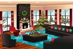 House with Christmas Decoration - stock illustration