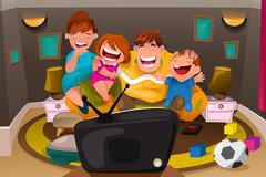 Family Watching Television Stock Illustration