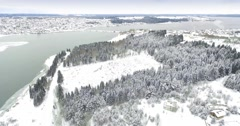 Overhead view of the river, the forest and the village in the winter Stock Footage