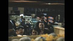 Vintage 16mm film, 1955, France Paris, open air market on the street #2 Stock Footage