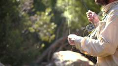 Man casting a fly, fishing Stock Footage