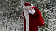 Santa Claus with smarphone in woods Stock Footage