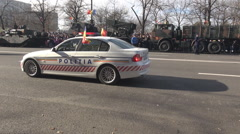Stock Video Footage of Police parade outdoor, police cars, car, beacon flashing red blue, close up view