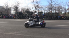 Stock Video Footage of Police parade on streets, cars and motorcycles with beacon marching, policemen