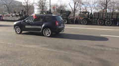 Police cars, bobby men, security on streets, military service, celebration, fun - stock footage