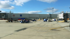 Southwest Airline planes on loading area of Philadelphia airport Stock Footage