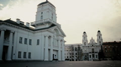 Minsk Town Hall and Church od Saint Virgin Mary Stock Footage