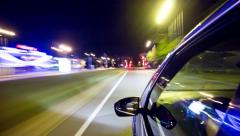 Travel on night road, side view. Time-lapse - stock footage