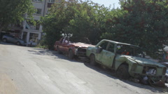 Abandoned Cars in the City Stock Footage