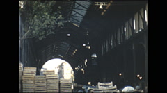 Vintage 16mm film, 1955, France Paris, open air market on the street #5 Stock Footage