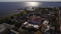 Aerial Shot Moving from Downtown Charleston, SC out to the Wharf Stock Footage