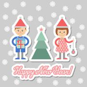 Stock Illustration of Boy and girl with gifts decorate Christmas tree.