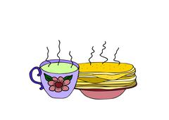 Illustration of a cup of tea and pancakes Stock Illustration
