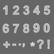 Stock Illustration of Design elements - ceramics 3D font, numbers and symbols. Set.