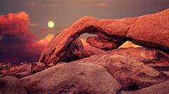 Purple sunset and rising moon in Joshua Tree National Park, USA Kuvituskuvat