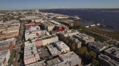 Aerial Shot of Downtown Charleston, SC Looking Toward Ravenel Bridge Stock Footage