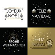 Merry christmas gold line international navidad Stock Illustration