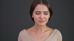 Young woman is sobbing severely - stock footage