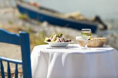 greek salad outdoor in summer - stock photo