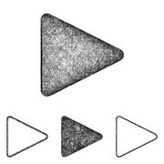 Play icon set - sketch line art - stock illustration