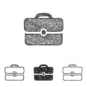 Briefcase icon set - sketch line art - stock illustration
