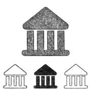 Bank icon set - sketch line art Stock Illustration