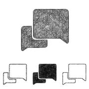 Stock Illustration of Conversation icon set - sketch line art