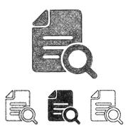 Search icon set - sketch line art Piirros