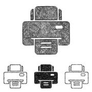Printer icon set - sketch line art Stock Illustration