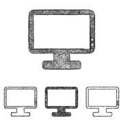 Monitor icon set - sketch line art Stock Illustration