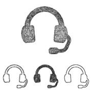 Headphone icon set - sketch line art - stock illustration