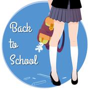 Japanese schoolgirl legs with bag and lettering Back to school. - stock illustration