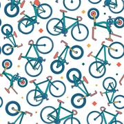 Vector seamless bicycle color pattern with borders - stock illustration