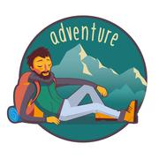Bearded traveler with backpack in mountains - stock illustration