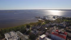 Aerial Shot of Cooper River Pulling Back to Downtown Charleston, SC Stock Footage