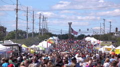 Large crowd of people at street festival 4k Stock Footage