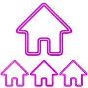 Stock Illustration of Magenta line house logo design set