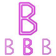 Magenta line b logo design set - stock illustration