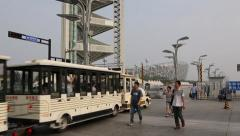 Locomotive for the tourists entered the territory Olympic Park in Beijing Stock Footage