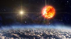 Sun with yellow planet star cross Stock Illustration