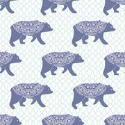 Blue bear vector seamless pattern with openwork ornament - stock illustration