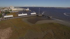 Aerial Shot Over the Wharf on Cooper River Toward Ravenel Bridge Stock Footage