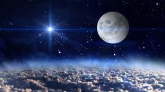 Stock Illustration of moon planet with blue star cross
