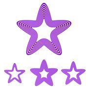 Purple line star logo design set Piirros