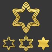 Golden line hexagram logo design set Piirros