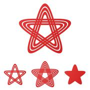 Red star loop logo design set Stock Illustration