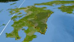 Miyazaki - Japan prefecture extruded. Satellite Stock Footage